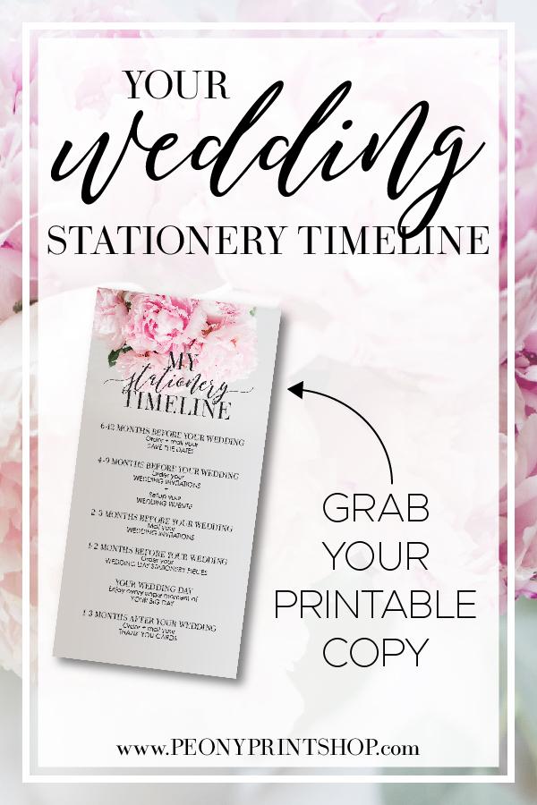 Printable Wedding Stationery Timeline for YOUR Wedding  |  PeonyPrintshop.com - Custom Invitations, Stationery, & Gifting