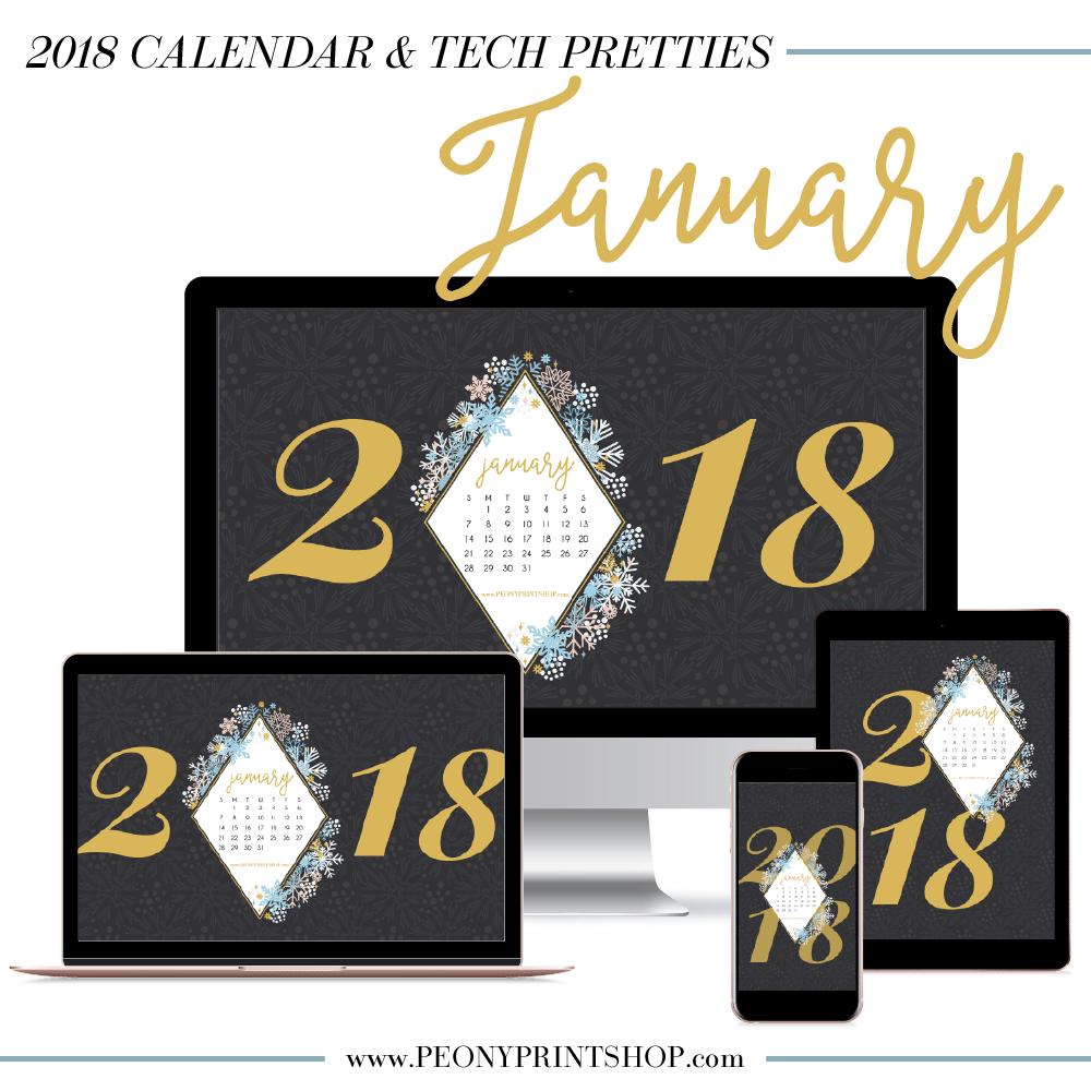 2018 January Tech Pretties | PeonyPrintshop.com