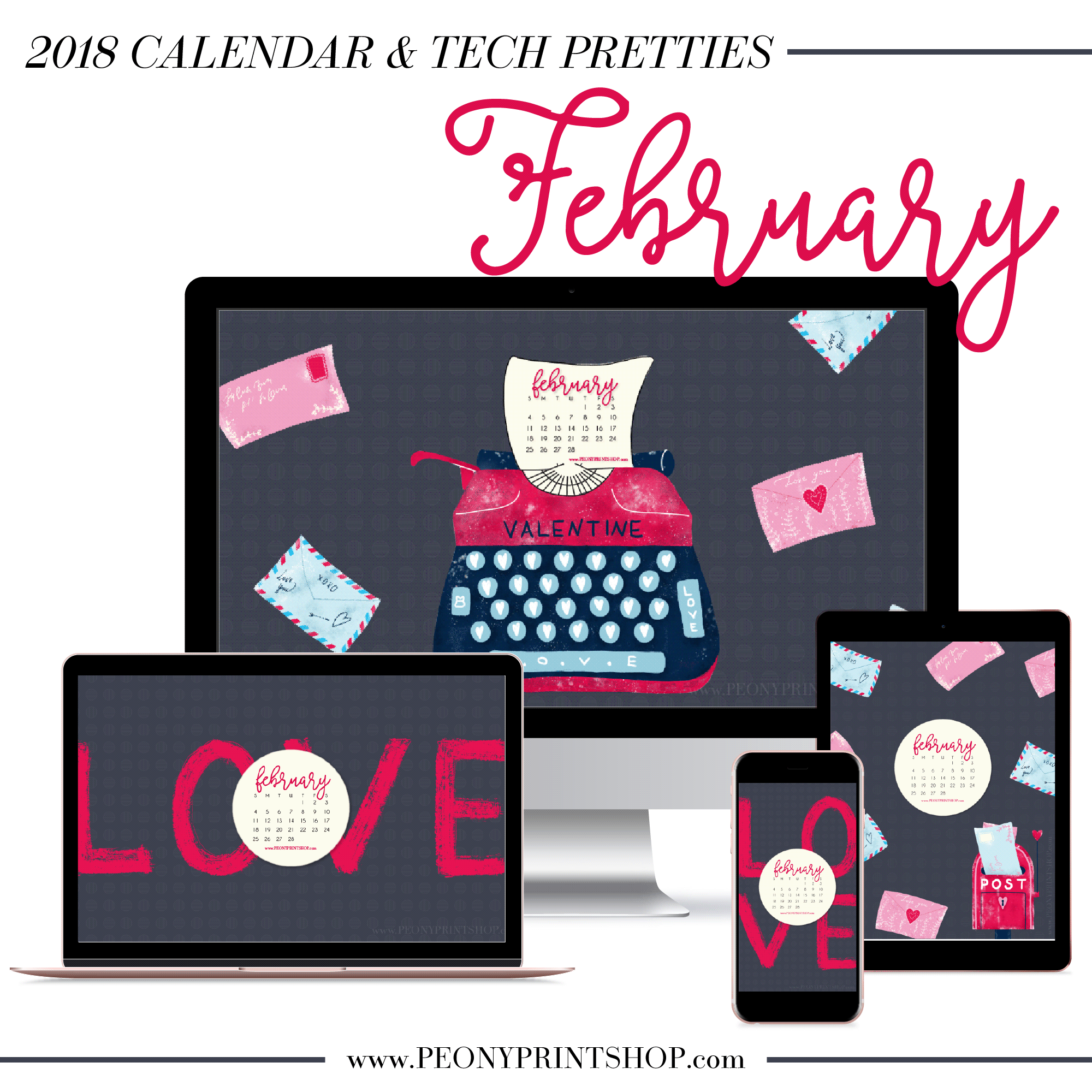 2018 February Tech Pretties on PeonyPrintshop.com - Custom Designs & Stationery for Engaged Couples & Small Businesses