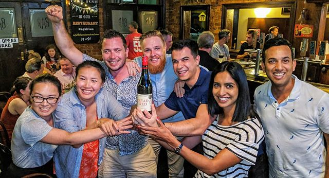 People coming together, having a great time and helping us raise funds and awareness for Trachoma in Australia.  This very happy team got third for trivia at The Welcome and won a bottle of @alexheadwine 'Head Red Shiraz'. #winwinwine #endtrachomaby2020 #wine #socialchange
