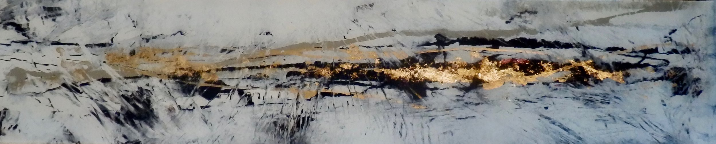 GOLD DUST - Reverse painting on a tempered glass panel, using crystal paper and gold 38 x 83 cm . 15 x 72 in