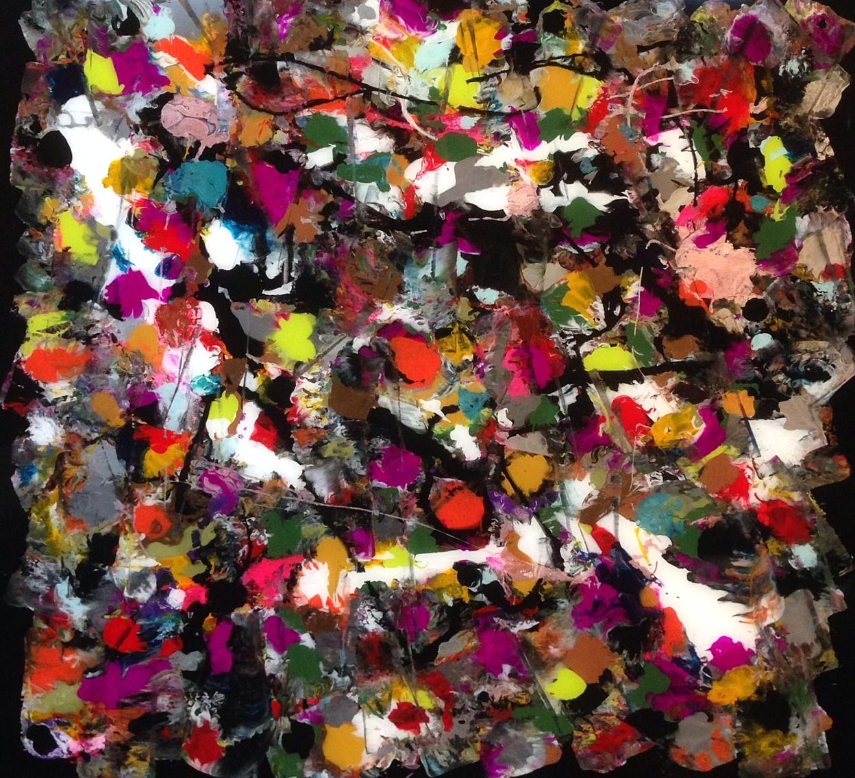 MULTIPLE LIVES, BLACK Reverse painting on plexiglass,30 x 36 in .91 x 76 cm