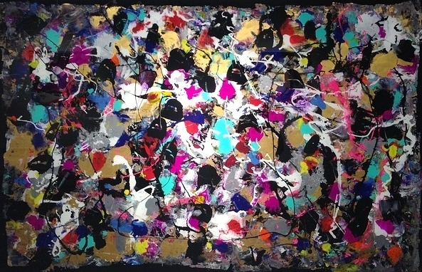 MULTICOLOURS Reverse painting on tempered glass, 32 X 48 IN . 81 X 121 CM