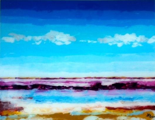 CORSICA - Reverse painting on plexiglass 120 x 90 cm . 47 x 35 in