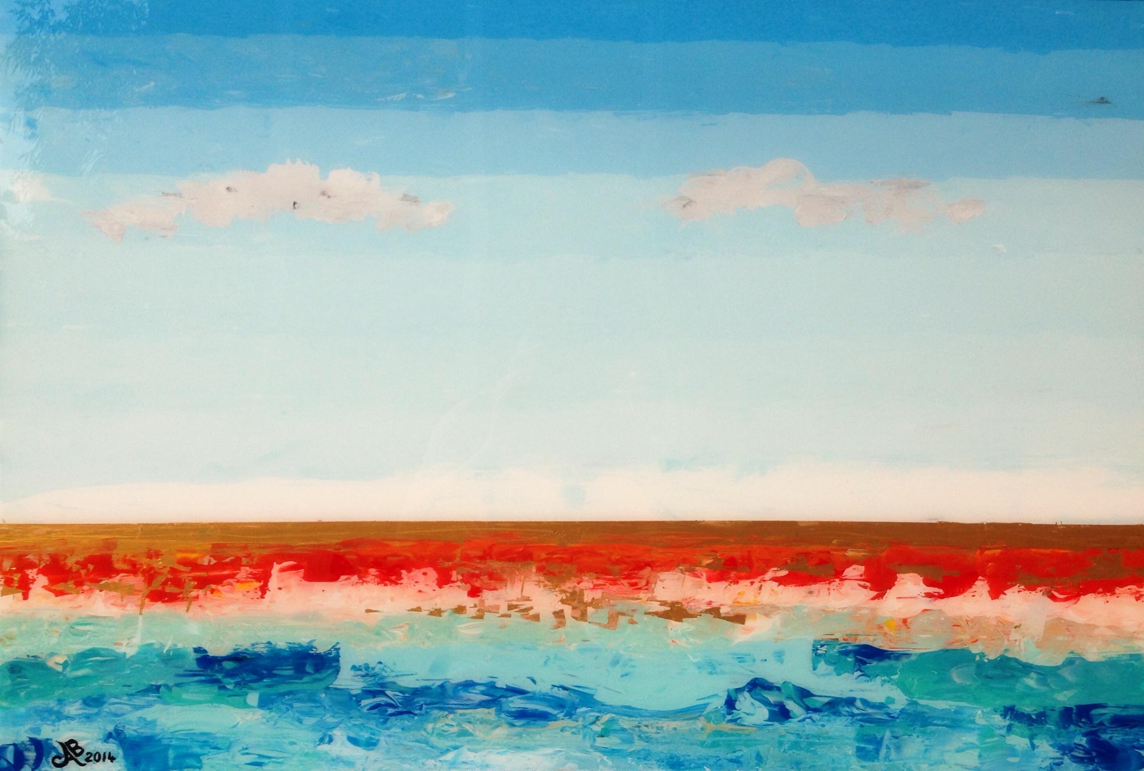 RÊVE D'HAWAÏ - Reverse painting on tempered glass 90 x 60 cm . 35.5 x 24 in