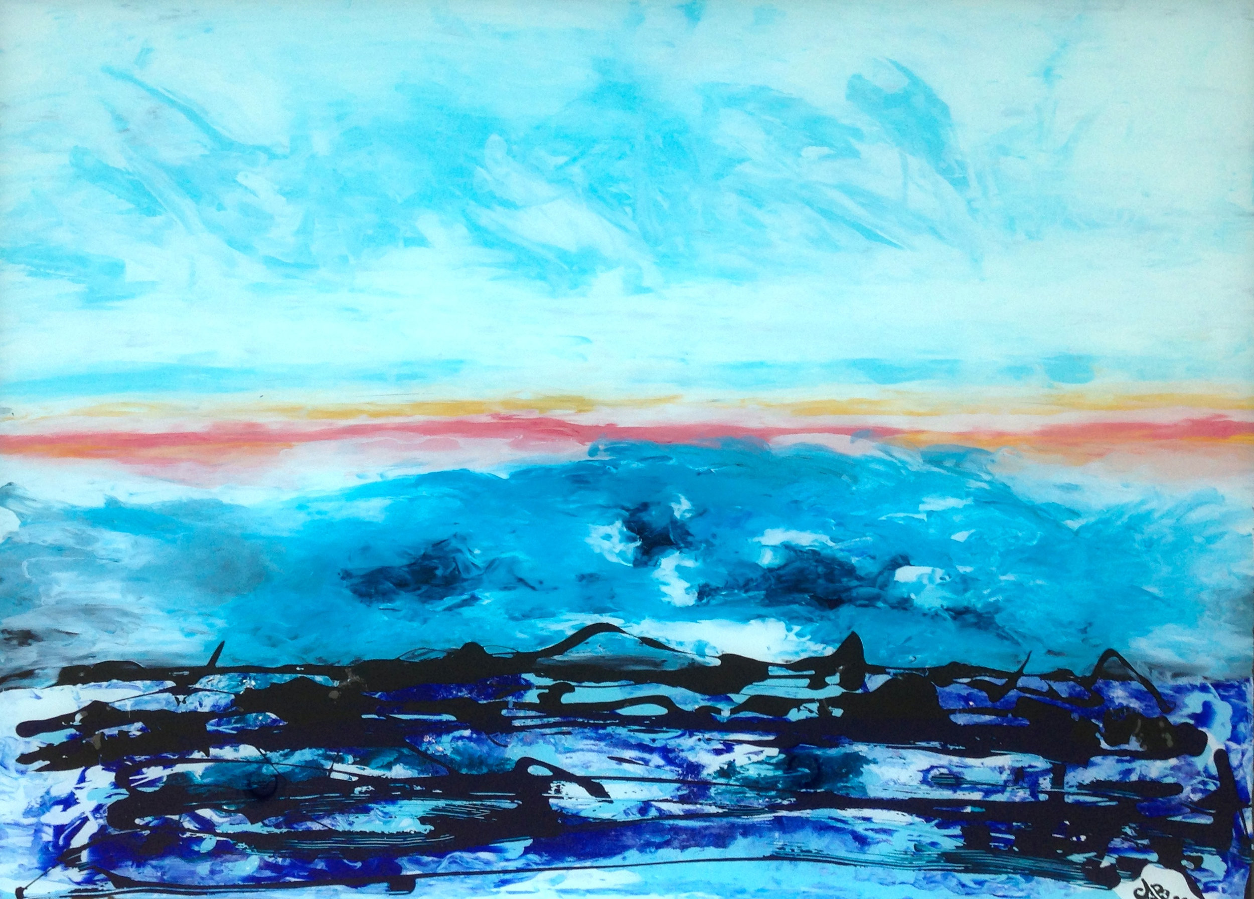 VICTORIA SUNRISE - Reverse painting on tempered glass 81 x 114 cm . 32 x 45 in