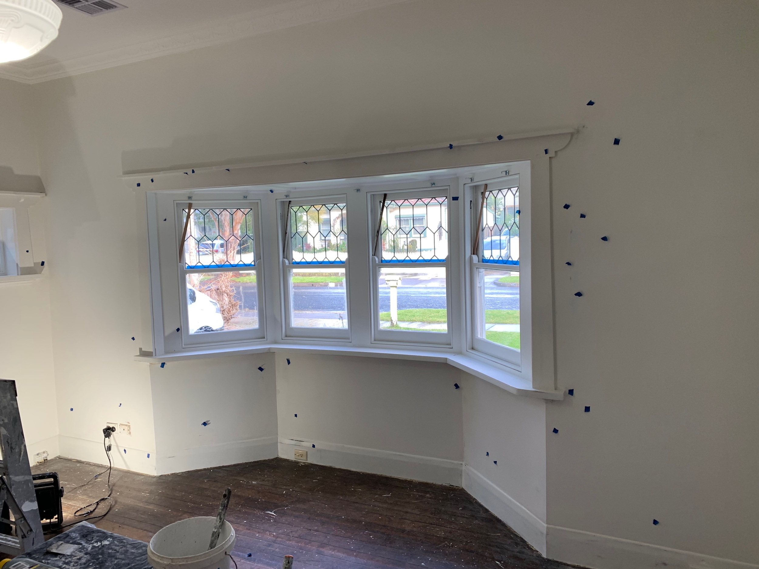 PREPARING all the walls and woodwork proper is critical for the best outcome possible. After filling walls and woodwork we mark the spots with tape so we dont miss any with the undercoat.