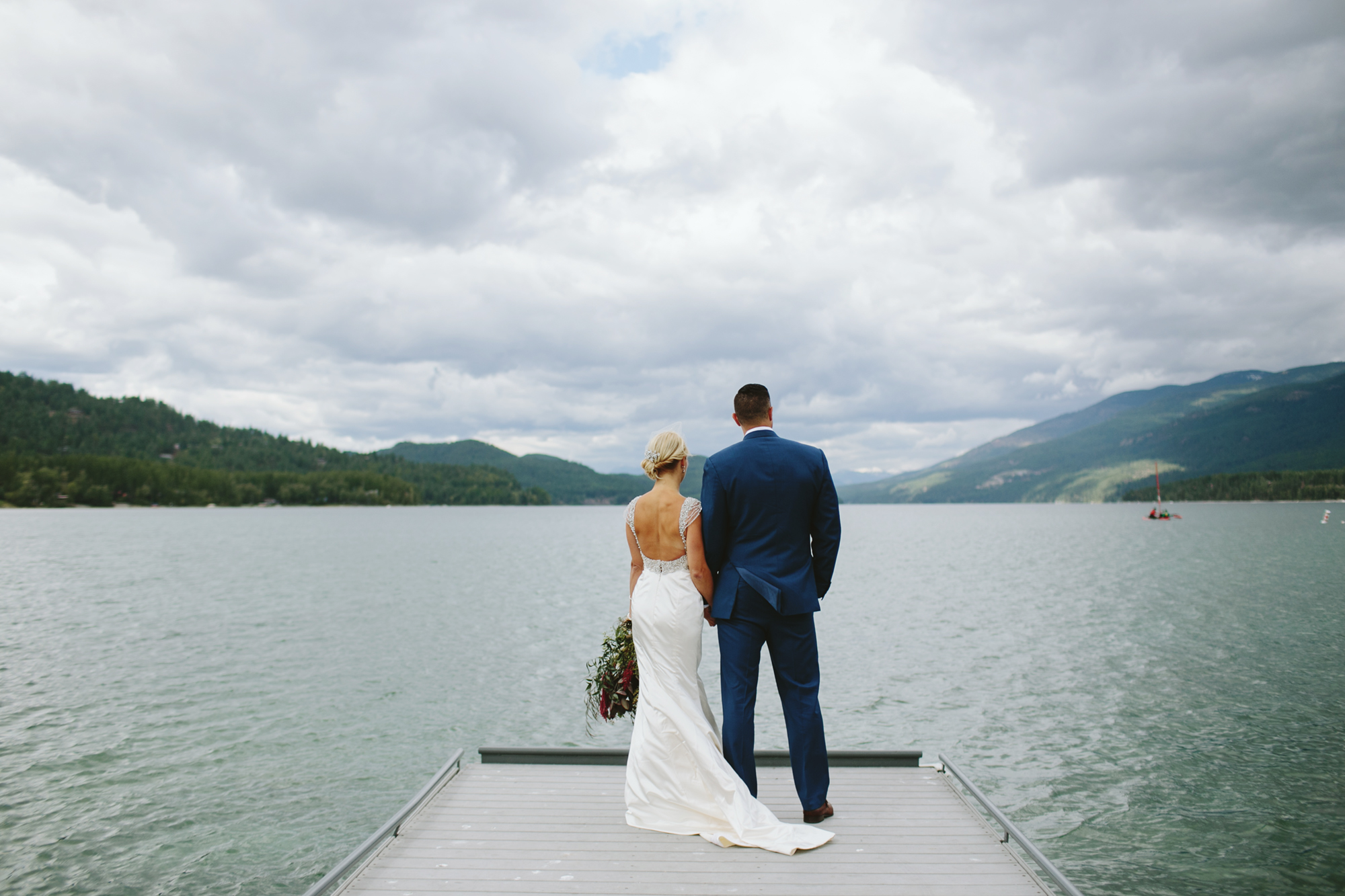 mountain wedding, lake wedding, alberta wedding photographer, lake wedding, blue suit, vintage gown