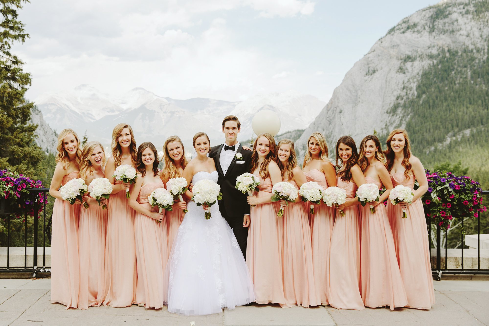 Fairmont Banff Springs Wedding, Large Wedding Party