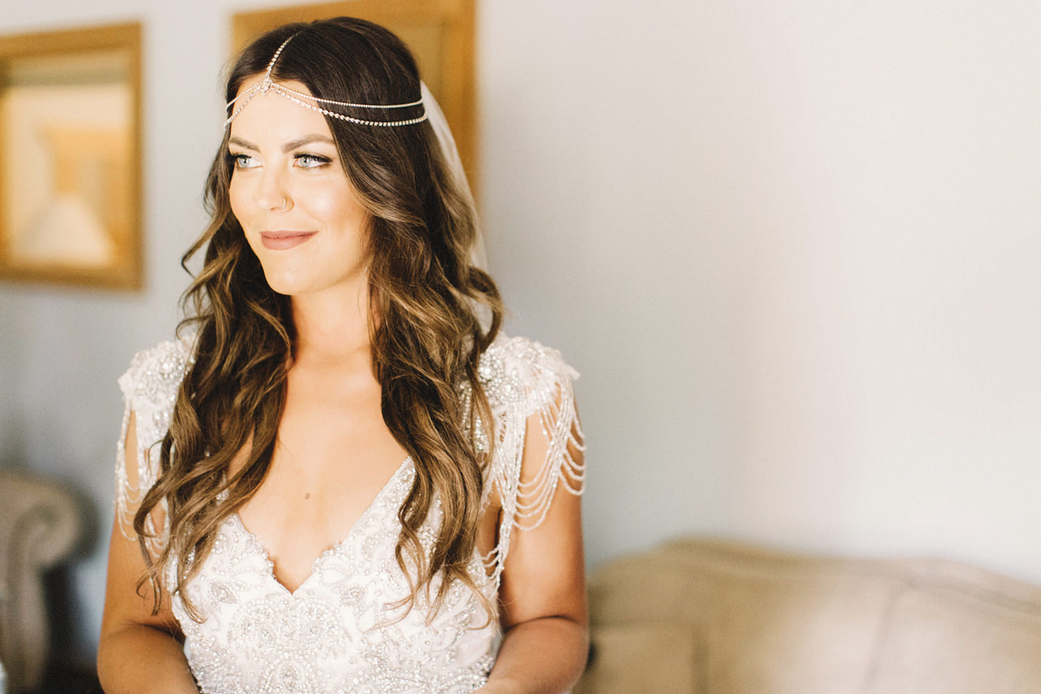 bride getting ready, boho chic wedding, golden bc wedding, hillside chalet wedding