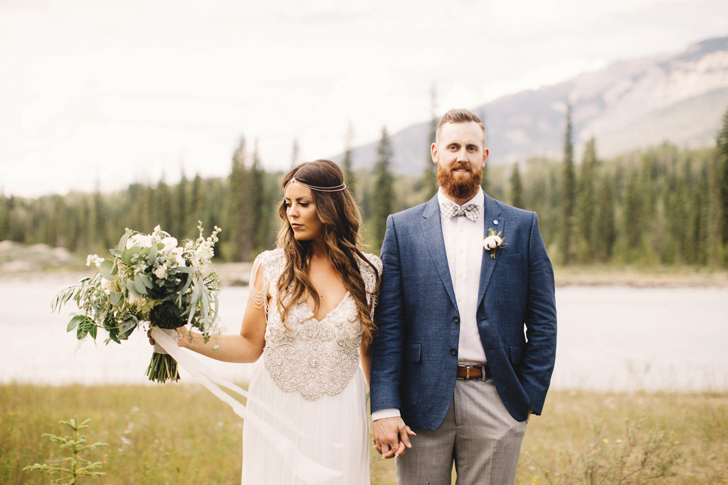 bride and groom portrait, groom in blue suit, boho chic bride, bride with hair down, anna campbell dress