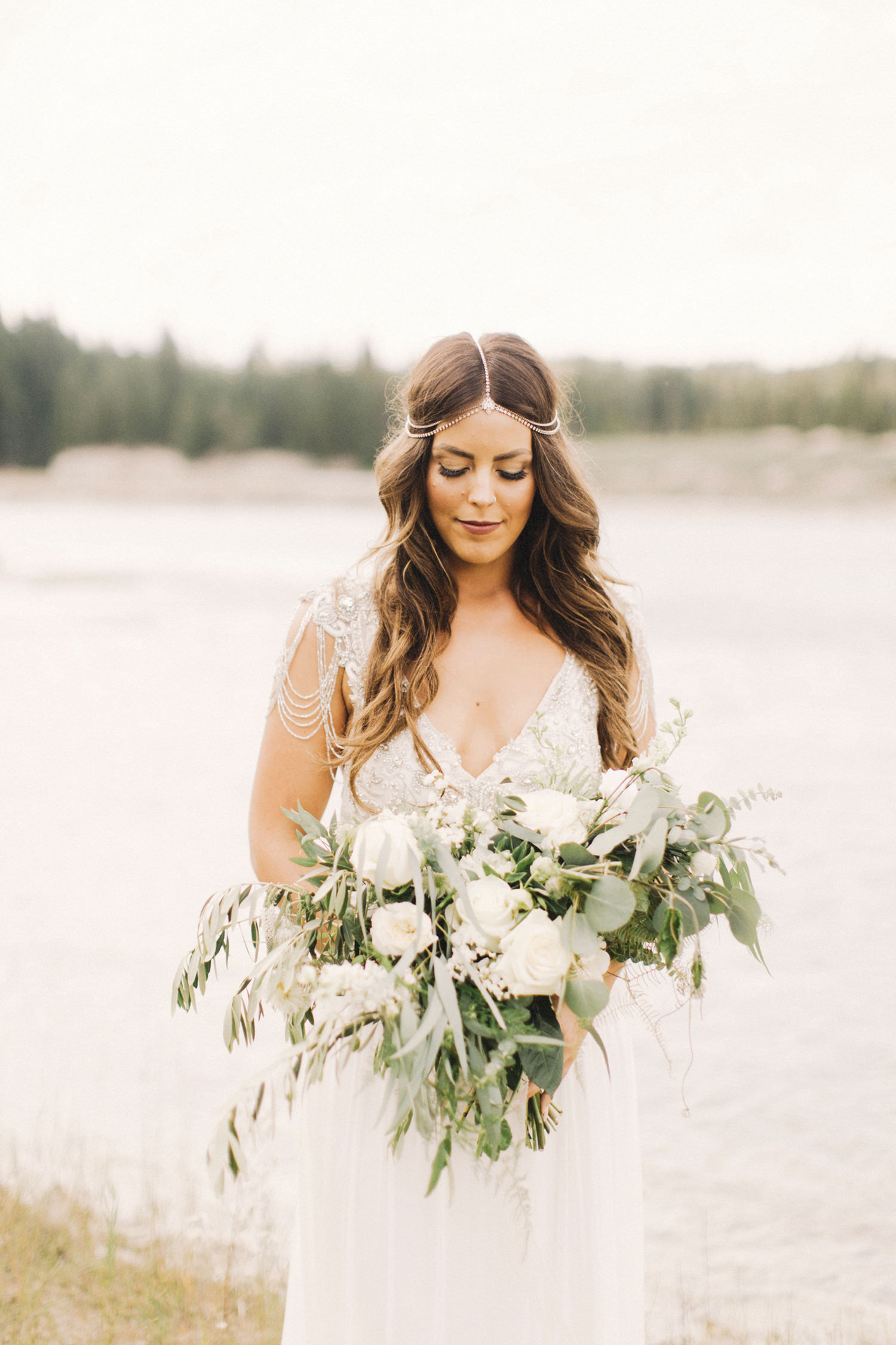 boho chic bride, bride with hair down, anna campbell dress
