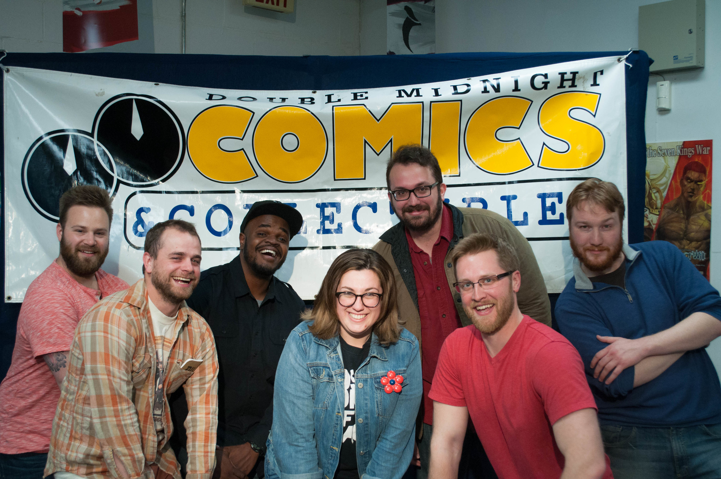 Photo Credit:  Chris Gagne  Comics from left to right:  Paul Landwehr, Shaun Connolly, Nick Chambers, Mariel Cabral, Dave Thomas, Ryan Chani and Nathan Burke