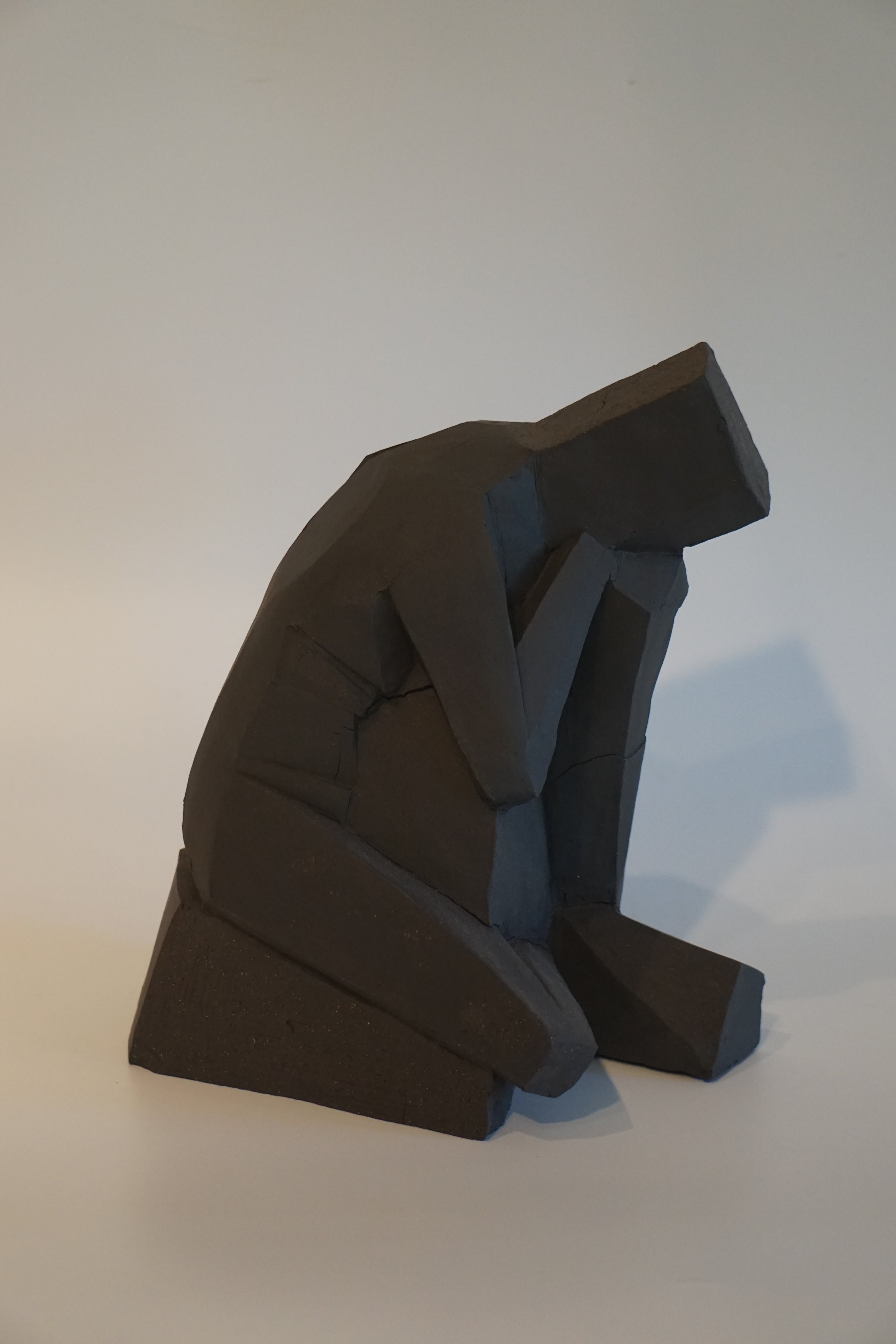"""""""Thinking Out Of The Box"""" in clay. I am going to cast it in bronze."""