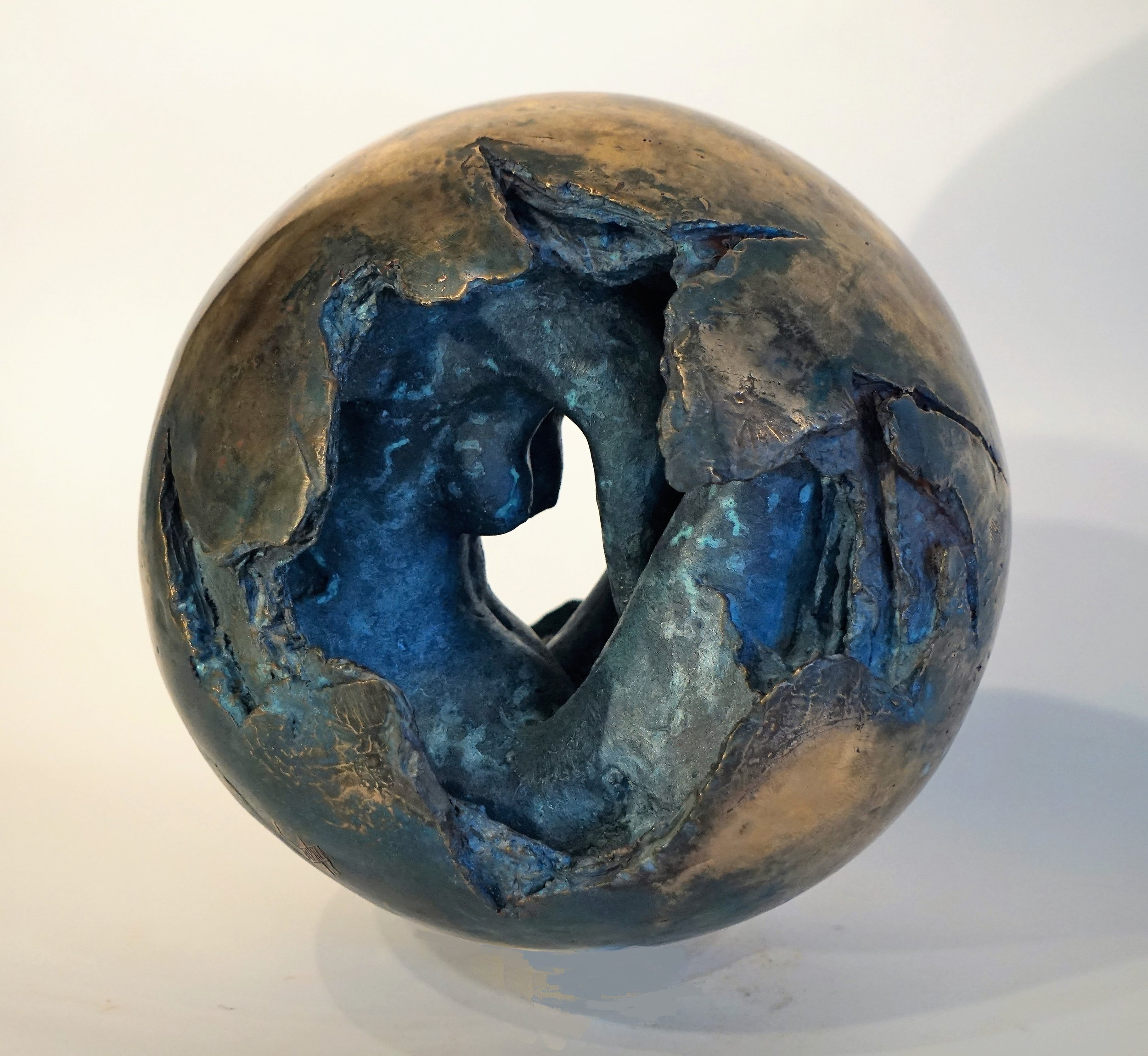 """""""Rebirth"""". Bronze.10"""" diameter, 42 lbs, completed in April 2017"""