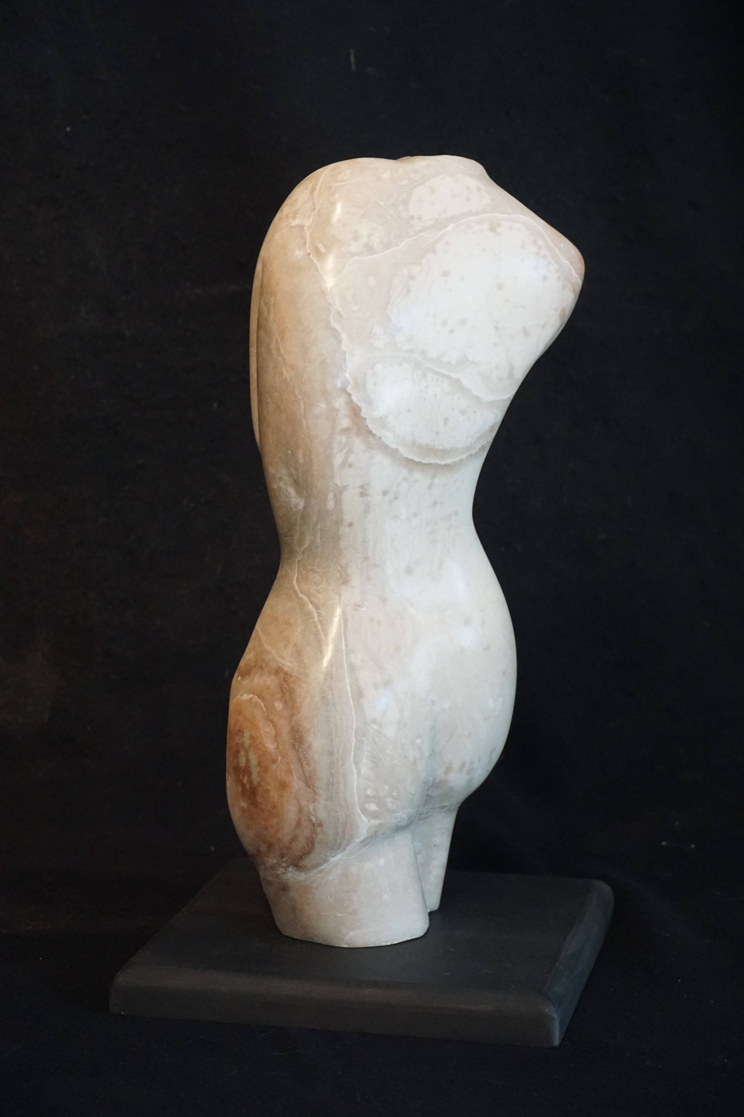 """Shy?"". Alabaster stone. 18"" high. Completed in June 2017."