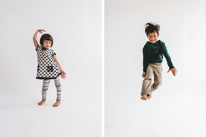 Kids lifestyle shoot using the seamless white background.
