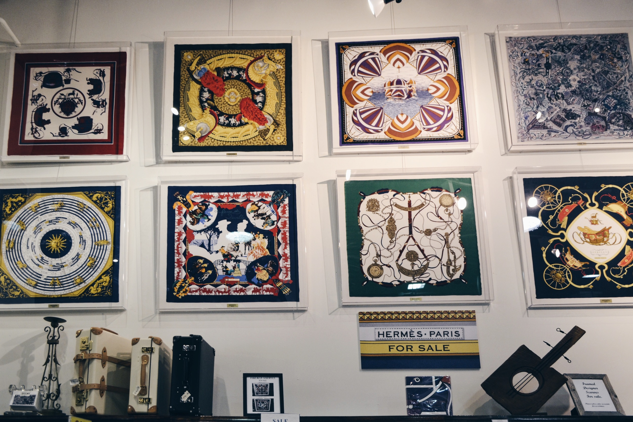 Details | Hermes scarves on display