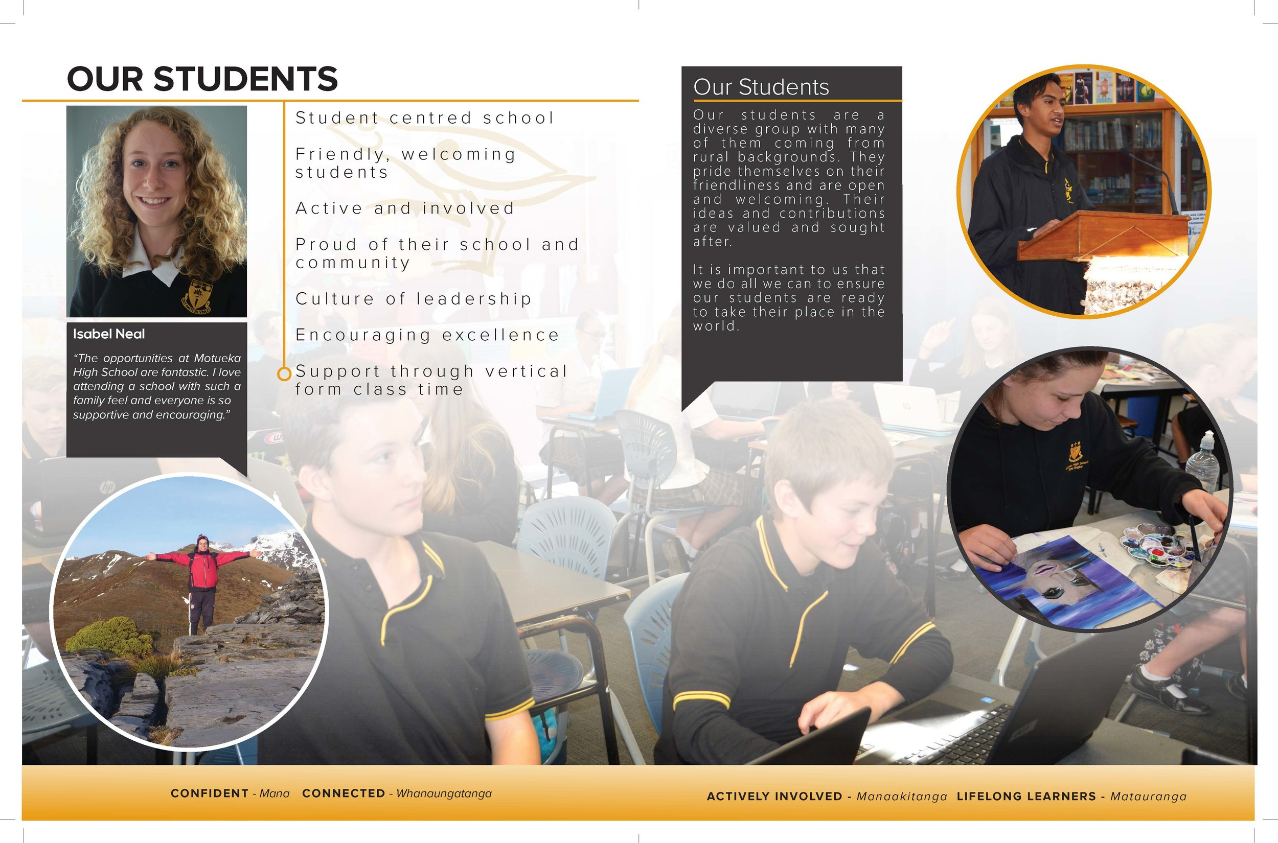 Sample page of redesign of Motueka High School Prospectus