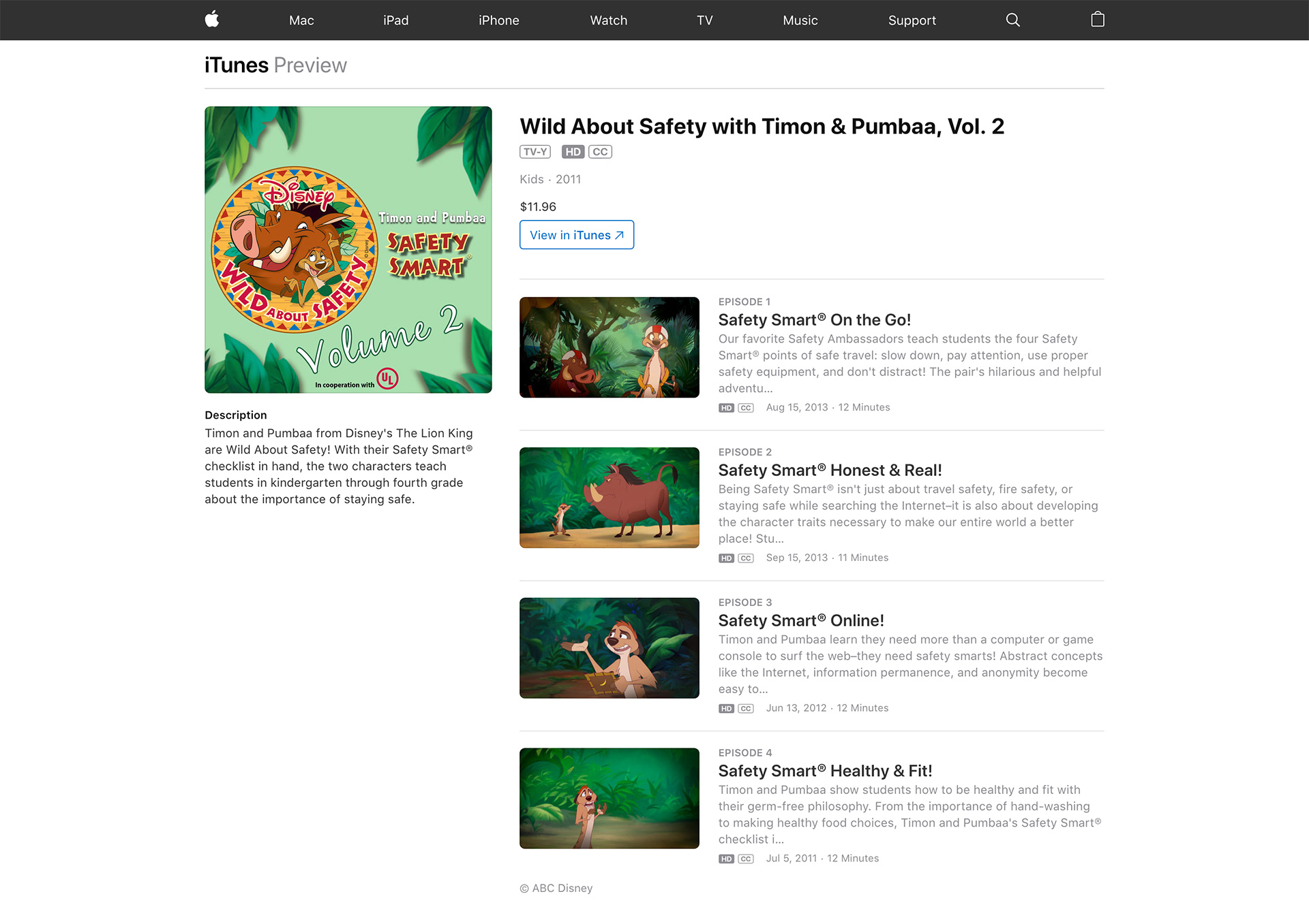 Wild About Safety with Timon & Pumbaa series on iTunes.