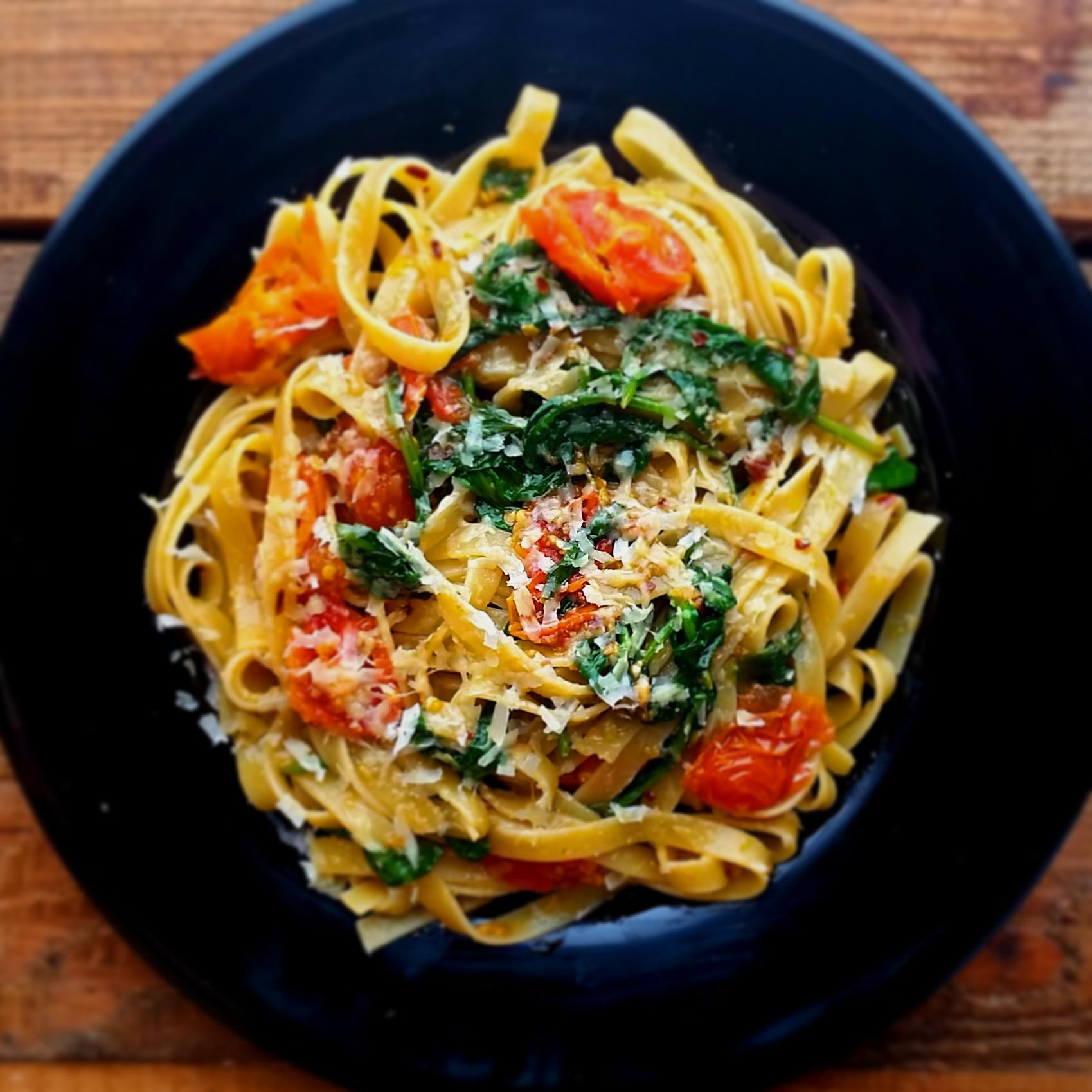 Taggliatelle Aglio e Olio with baby spinach