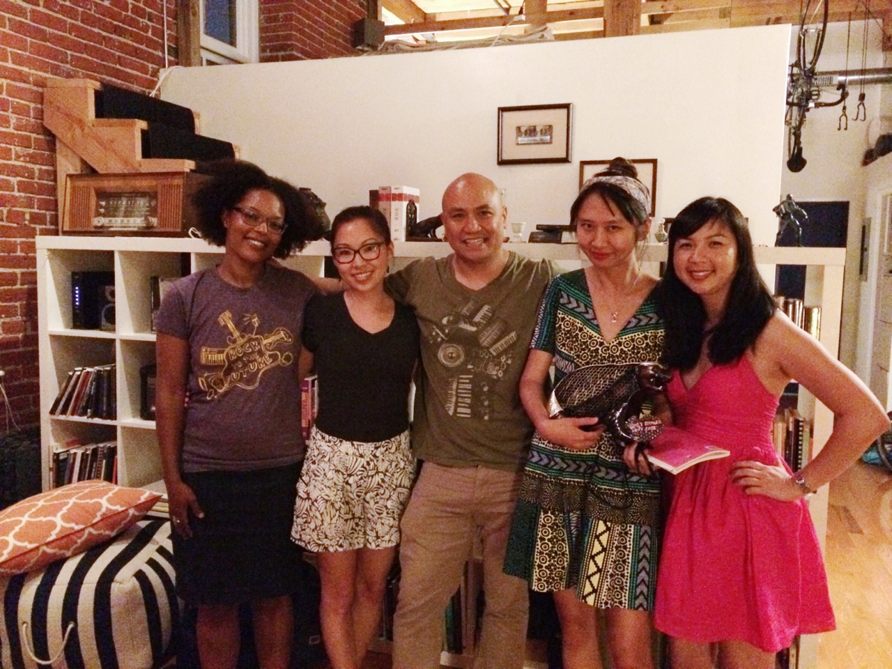 honeybadgersdontgiveabooktour :     Fantastic night at Ayat Arts! @YolandaWisher, @EugeniaLeigh, @PatrickRosal, @SallyWenMao, @CathyLinhChe. // Thank you for being a remarkable & generous host, Pat!