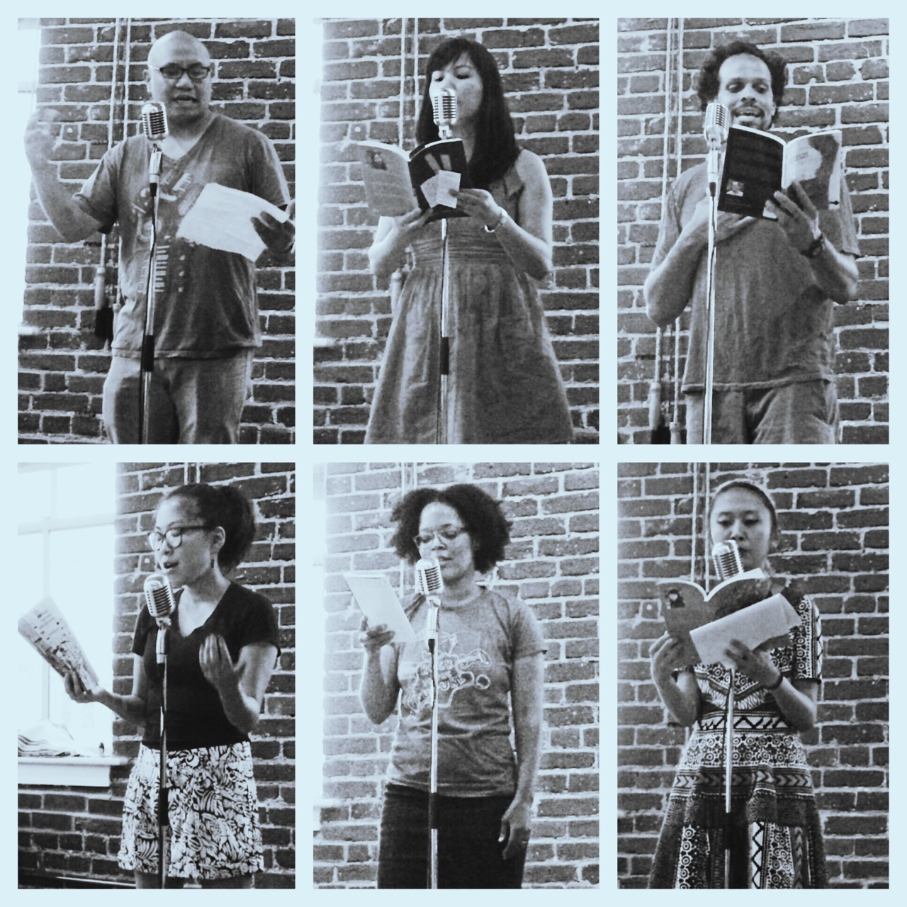 honeybadgersdontgiveabooktour :     Poets, clockwise from top left: Patrick Rosal, Cathy Linh Che, Ross Gay, Sally Wen Mao, Yolanda Wisher, Eugenia Leigh // At Ayat Arts, Philly.