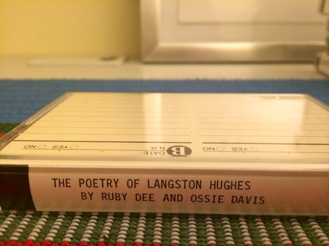 """In our office suite on campus, there's a bunch of tapes in a cabinet that is going to be thrown out. Chair told us to take whatever we wanted. Found this little joint. Also Lorraine Hansberry plays and James Earl Jones reading """"Poems From Black Africa"""" #digging"""