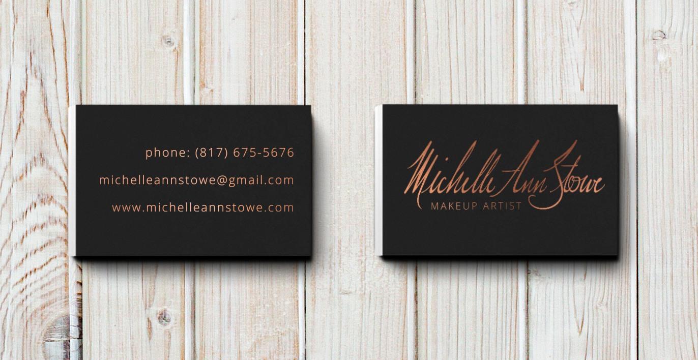 Business card design makeup artist brand michelle ann stowe