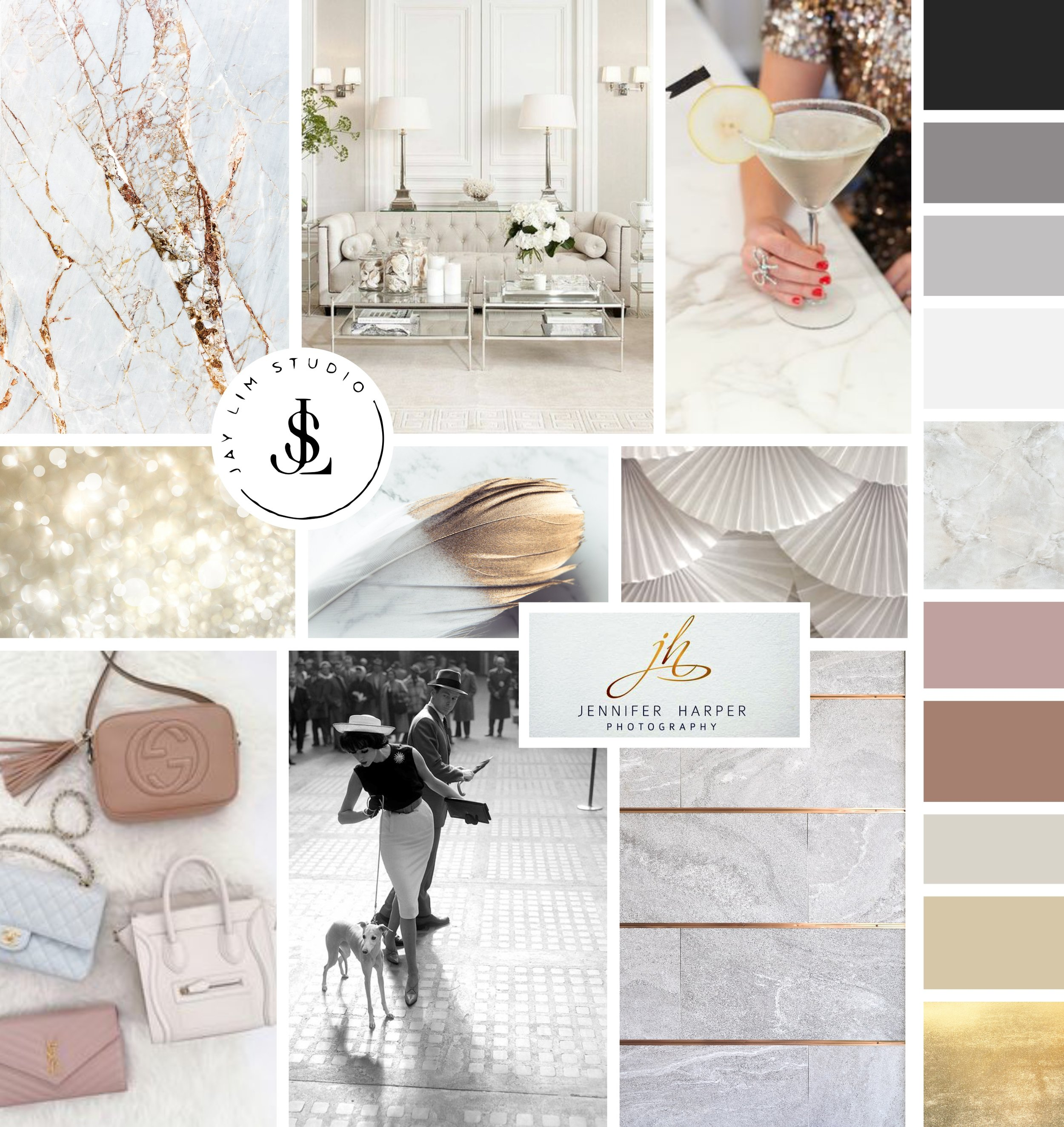 Mood Board, Logo & Brand Designed for Perfectly Planned Fera Events. Continue reading to see more of their Feminine Modern Minimalist Logo Variations! #logo #design #branding #event #inspiration #modern #feminine #minimal