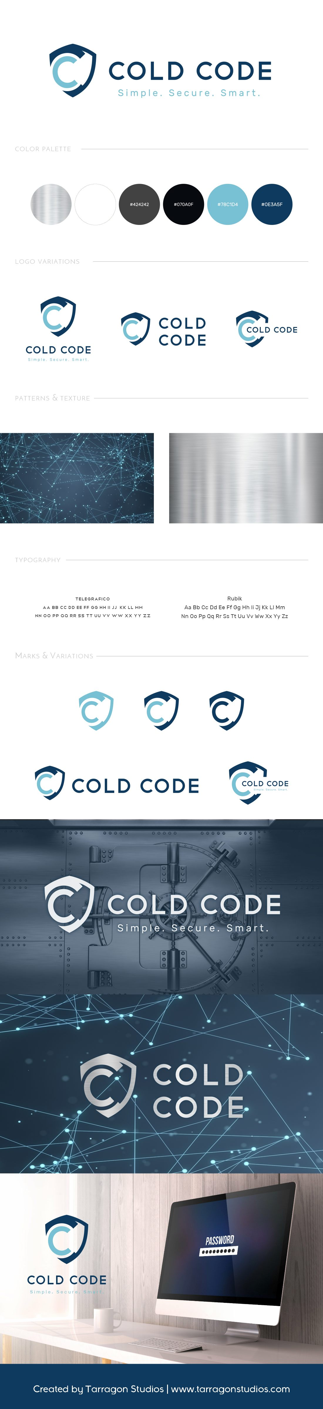 Techy masculine shield logo and brand for Cold Code Secure Crypto Currency Storage Device design by Tarragon Studios. Keep Reading to see all the strong security inspired logo variations! #logo #design #masculine #security