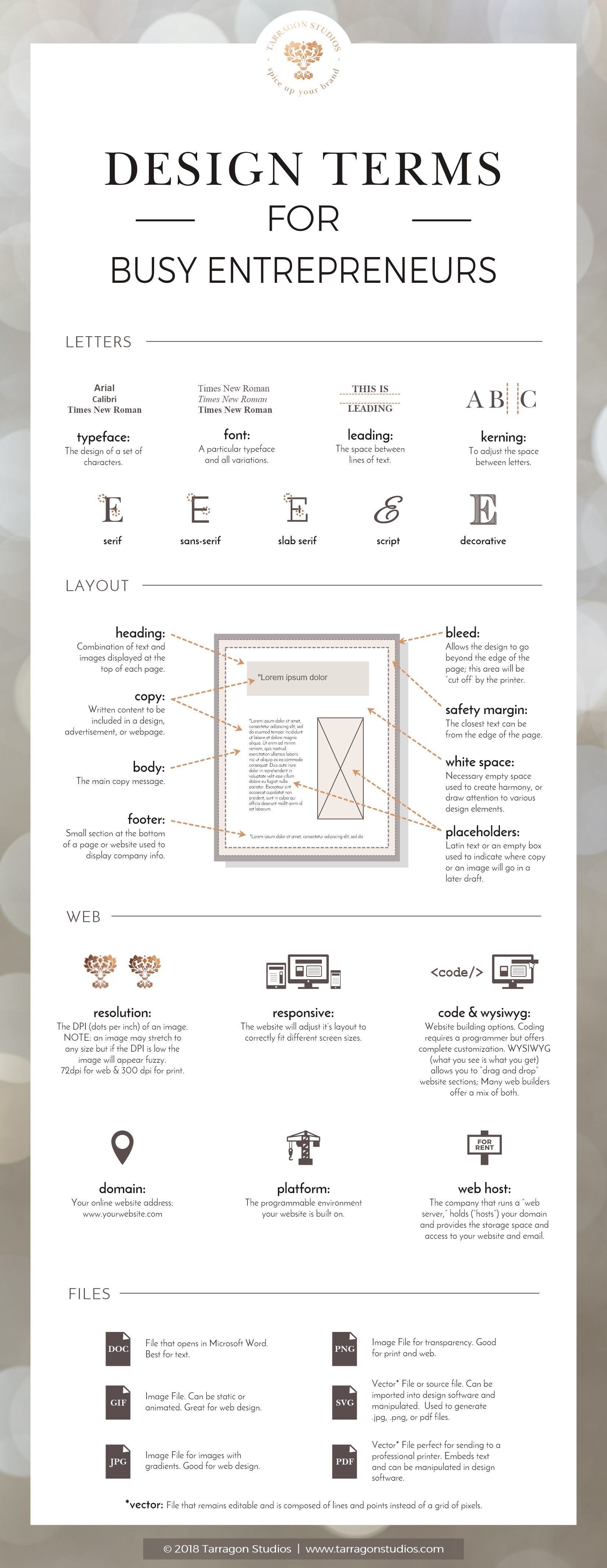 design terms for busy entrepreneurs to effectively communicate with your designer or printer