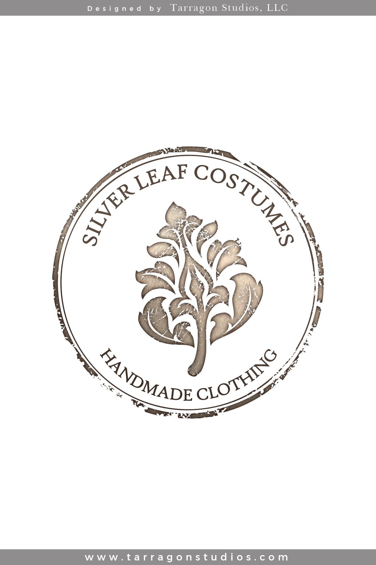 Logo & Brand for Silver Leaf Costumes designed by Tarragon Studios. Keep reading to see all of her rustic, feminine, metallic logo variations! #logo #design #brand #feminine #fashion #metallic #steampunk