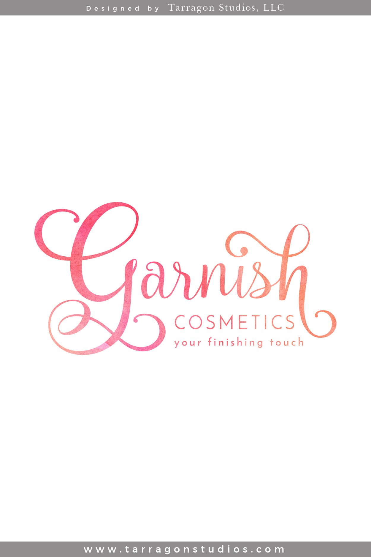 Logo, Brand, & Website for Garnish Cosmetics Designed by Tarragon Studios. Keep Reading to see her beautiful bright feminine logo variations and website! #logo #design #branding #website #feminine #beautiful #bright