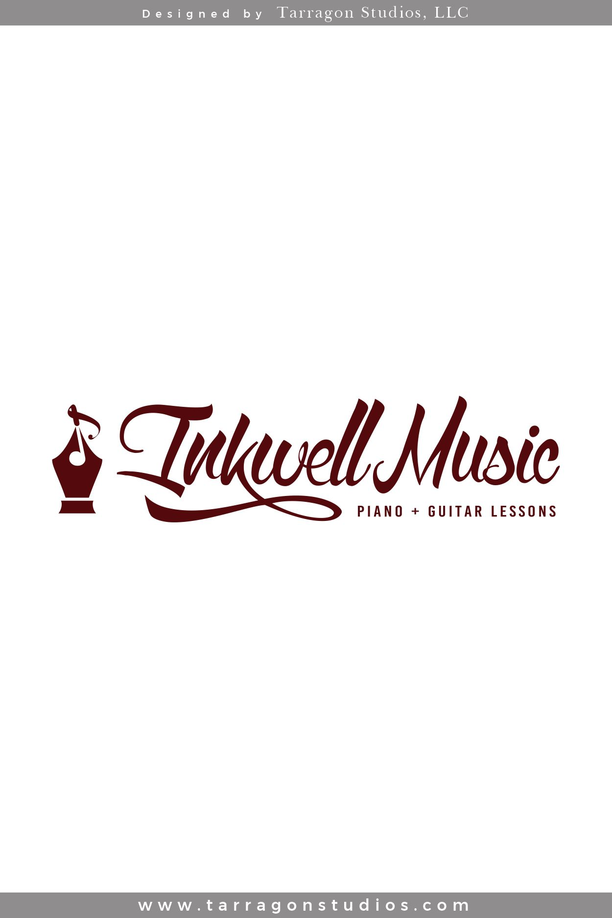 Logo & Brand Design for Inkwell Music by Tarragon Studios. Keep Reading to see all of their warm, vintage logo variations! #logo #branding #design #vintage #warm #music