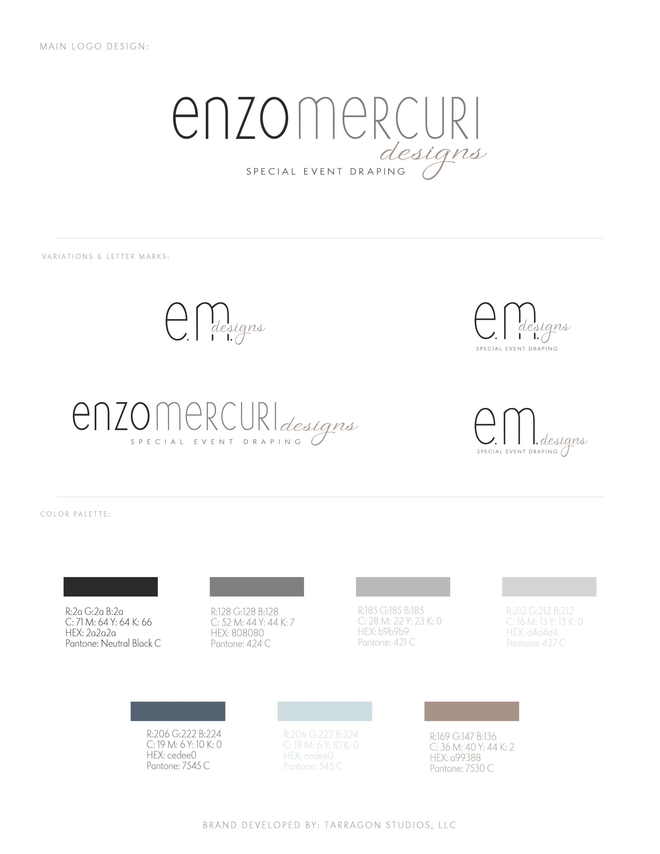 Chic, Minimal, unique and brand for Enzo Mercuri Designs, Special Event Draping by Tarragon Studios. Keep Reading to see all the gorgeous high-end inspired logo variations! #logo #design #chic #minimal