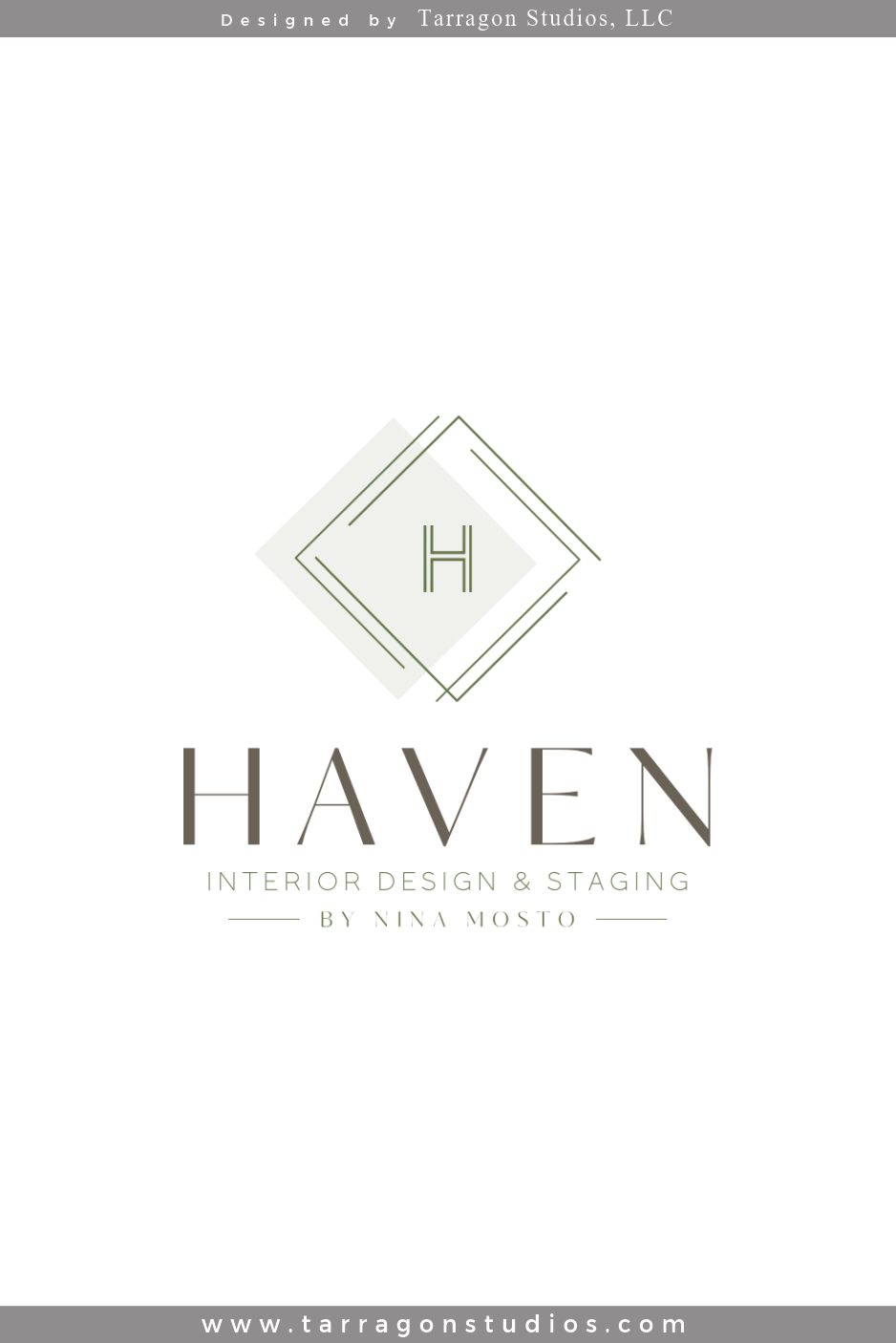 This Chic, stylish logo and brand for Haven Interior Designs & Staging by Nina Mosto, was created by Tarragon Studios. Keep Reading to see all the elegant logo variations! #logo #design #chic #unique