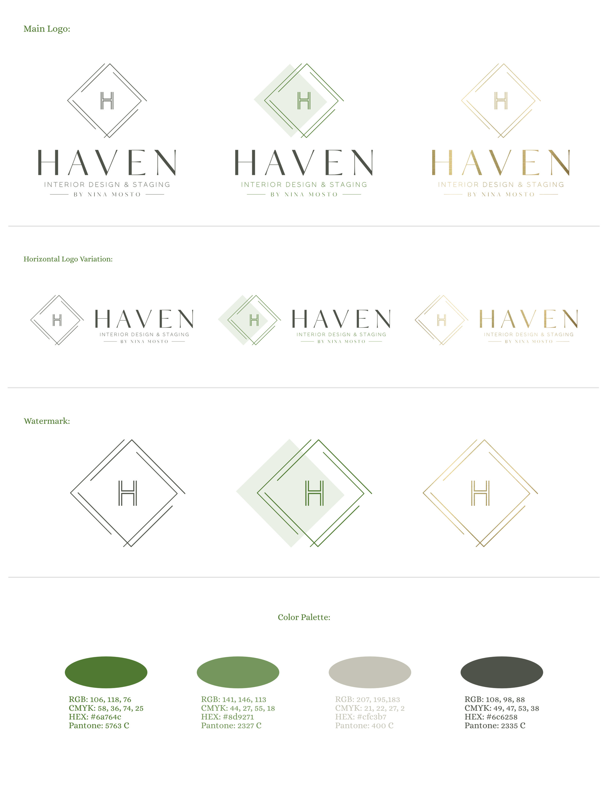 The elegant style guide brand for Haven Interior Designs & Staging by Nina Mosto - Brand designed by Tarragon Studios. Keep Reading to learn more about this project! #logo #design #chic #minimal