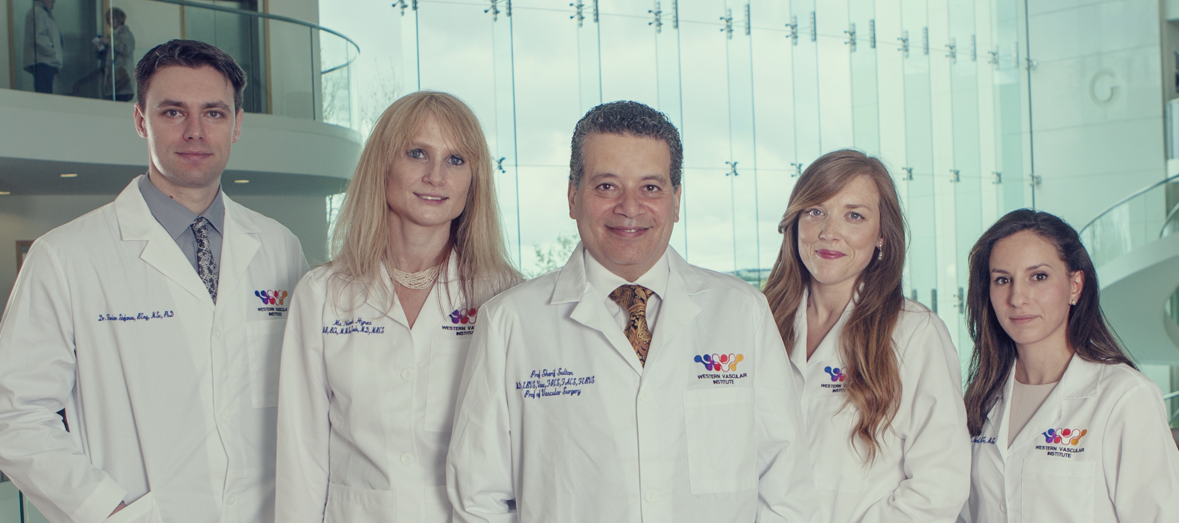 The Western Vascular Institute Team ( left to right: Dr Florian Stefanov, Ms Niamh Hynes, Prof Sherif Sultan, Dr Edel P Kavanagh, Ms Ala Elhelali )