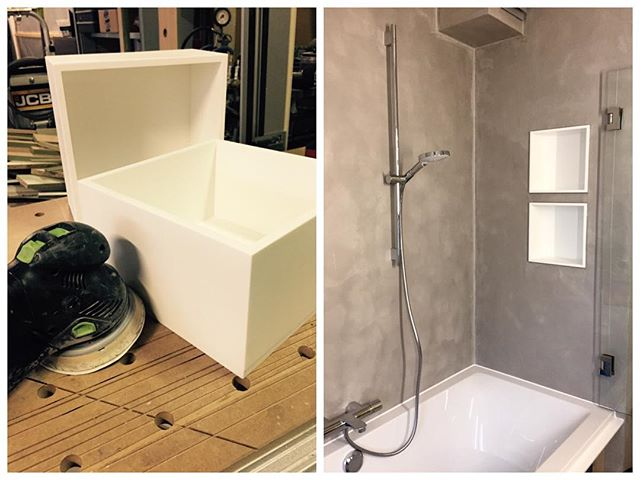 Now we make our own furniture parts in Corian! #n14 #awesomefurniture #corian #bathroom #renovations #festool