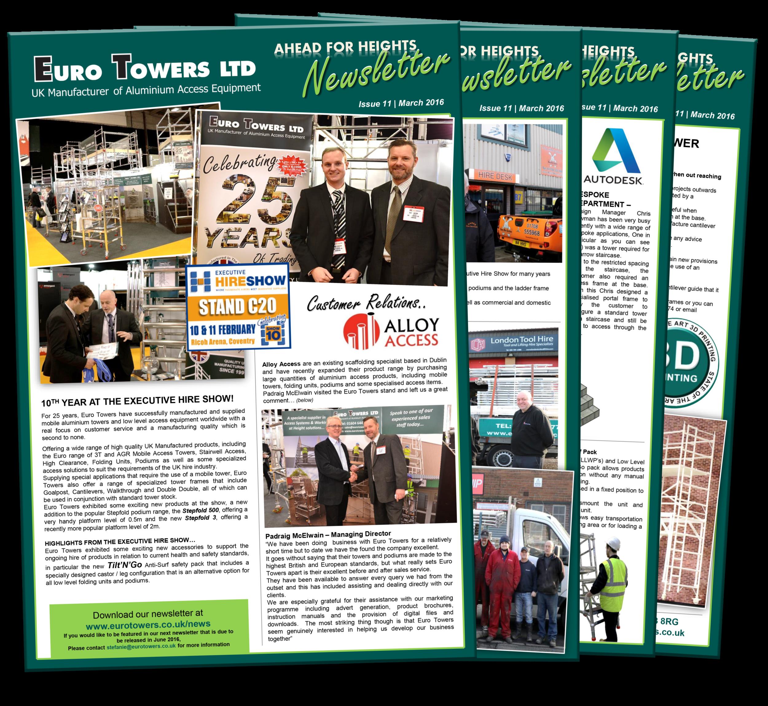 euro towers newsletter | aluminium tower suppliers | aluminium podium | executive hire show | 3D pritning |