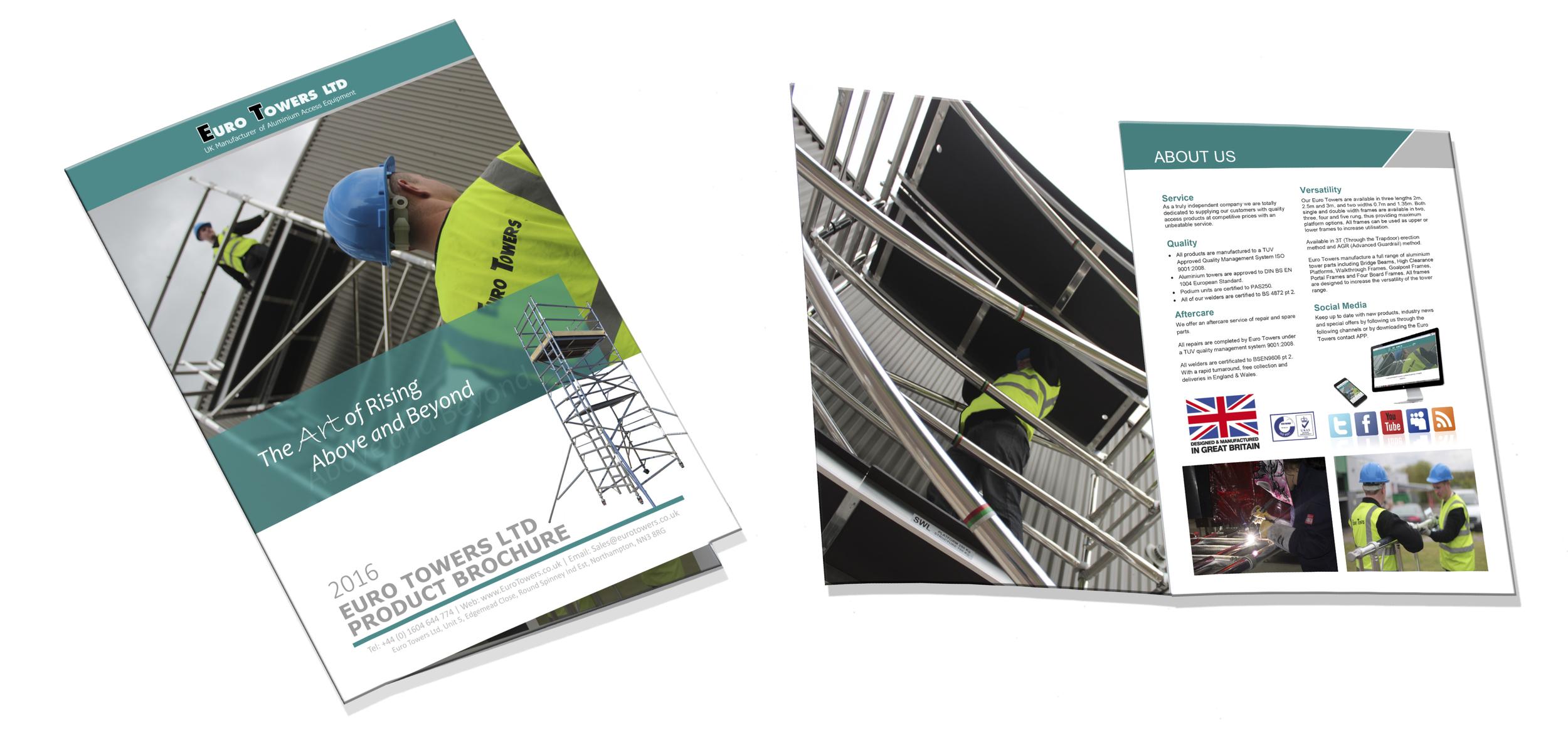 Euro towers, manufacturer of aluminium access equipment, product brochure, aluminium tower, aluminium podium