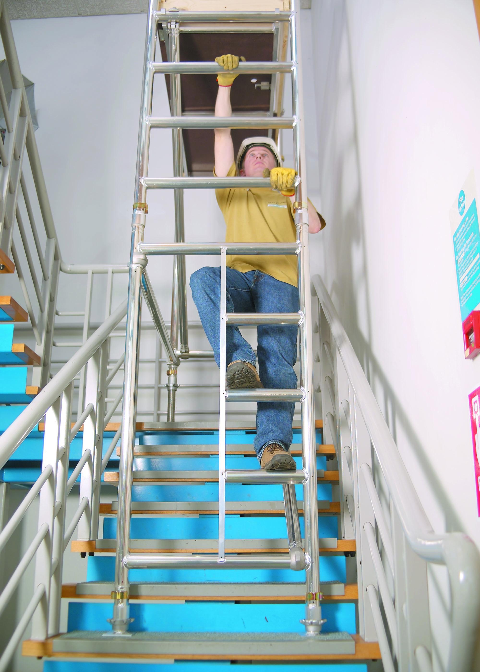 Aluminium podium | stairwell access unit | euro towers | aluminium tower