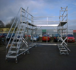 Vehicle access unit, euro towers, aluminium tower, safe access, bespoke systems, scaffolding