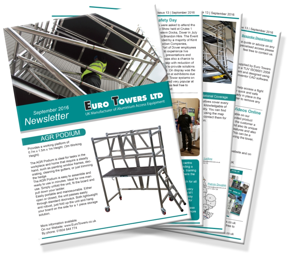 euro towers, newsletter, aluminium access, mobile towers, PASMA, working at heights, access systems