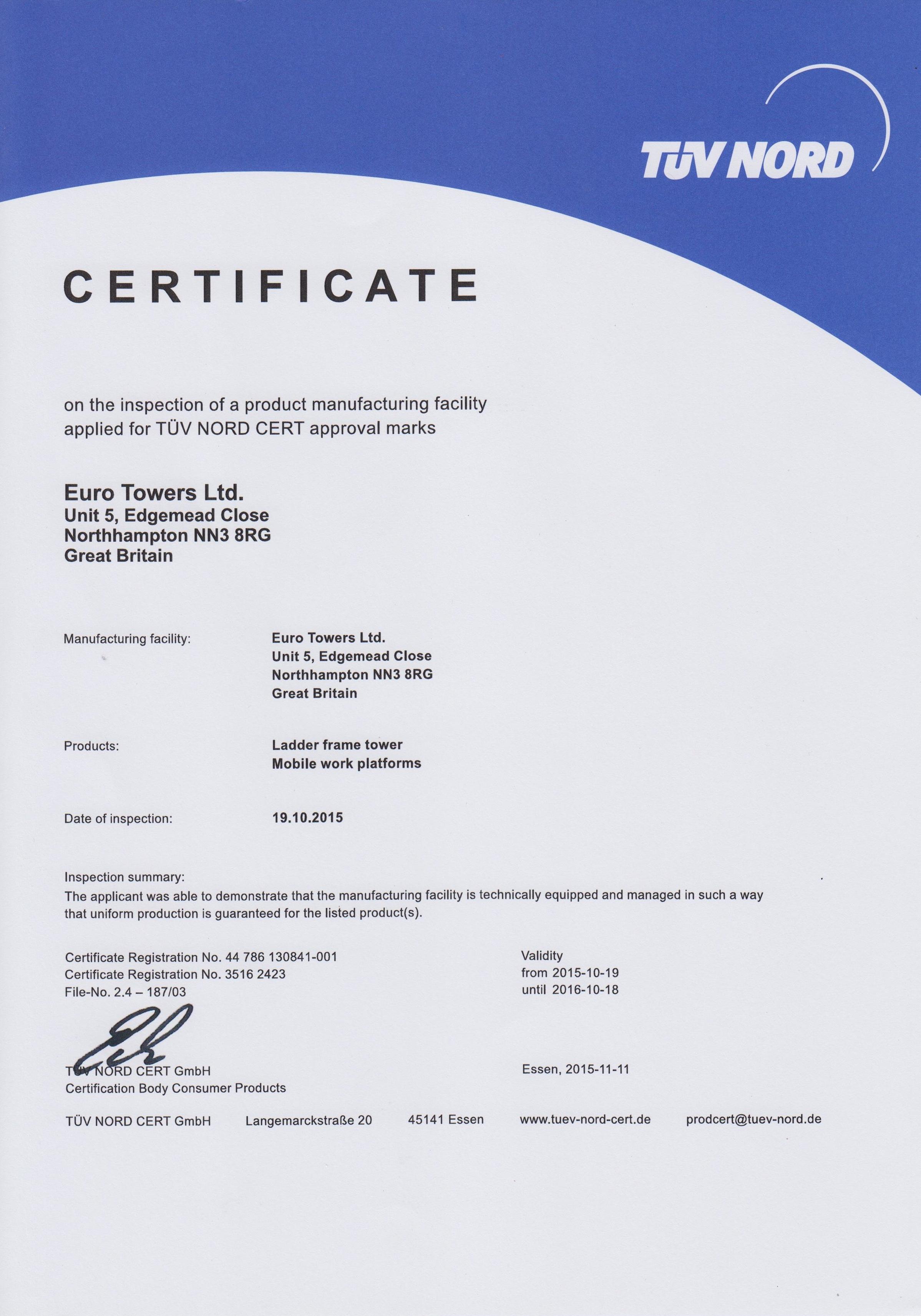 TUV manufacturing CErTIFICATION