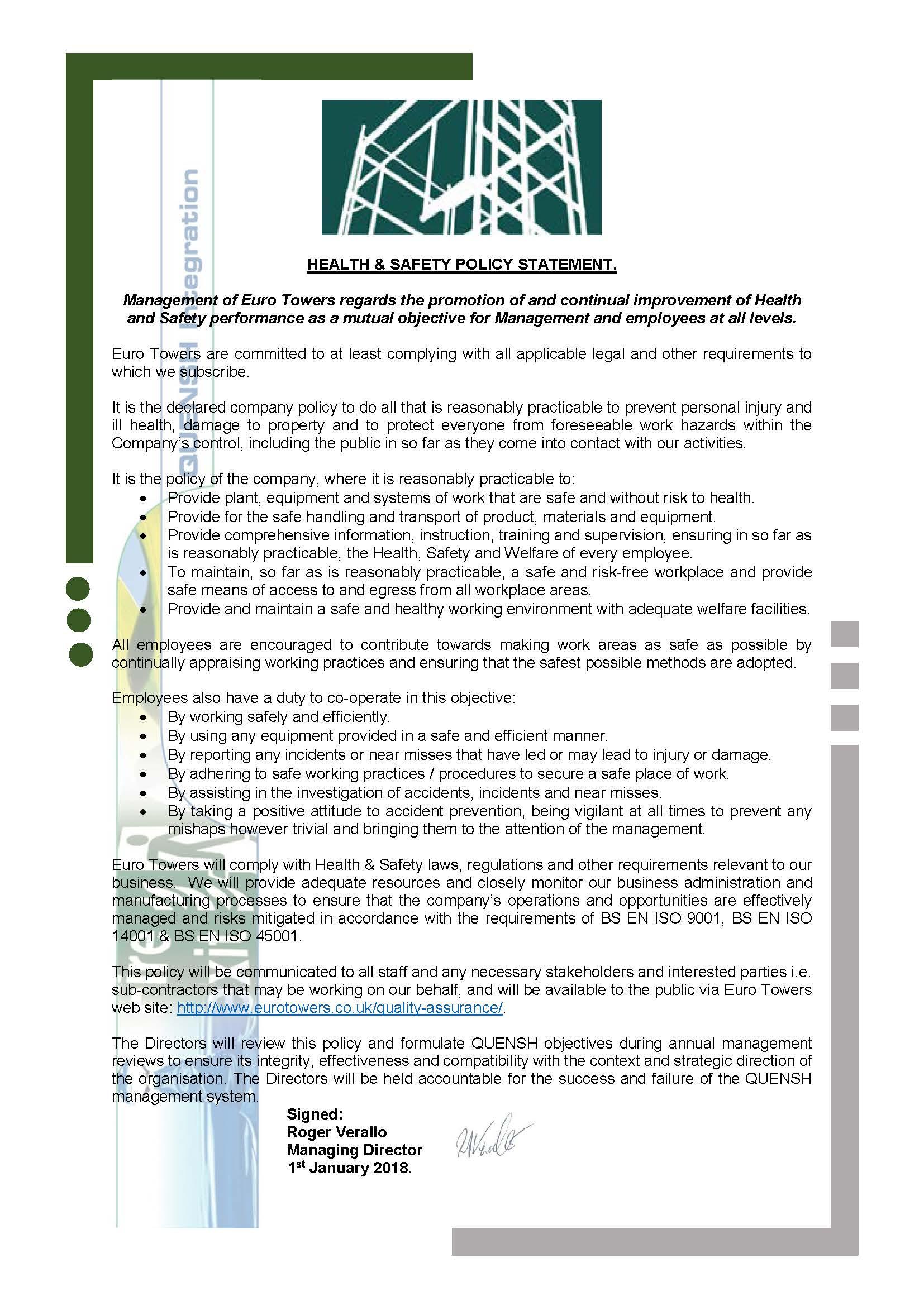 Health & Safety Policy Statement