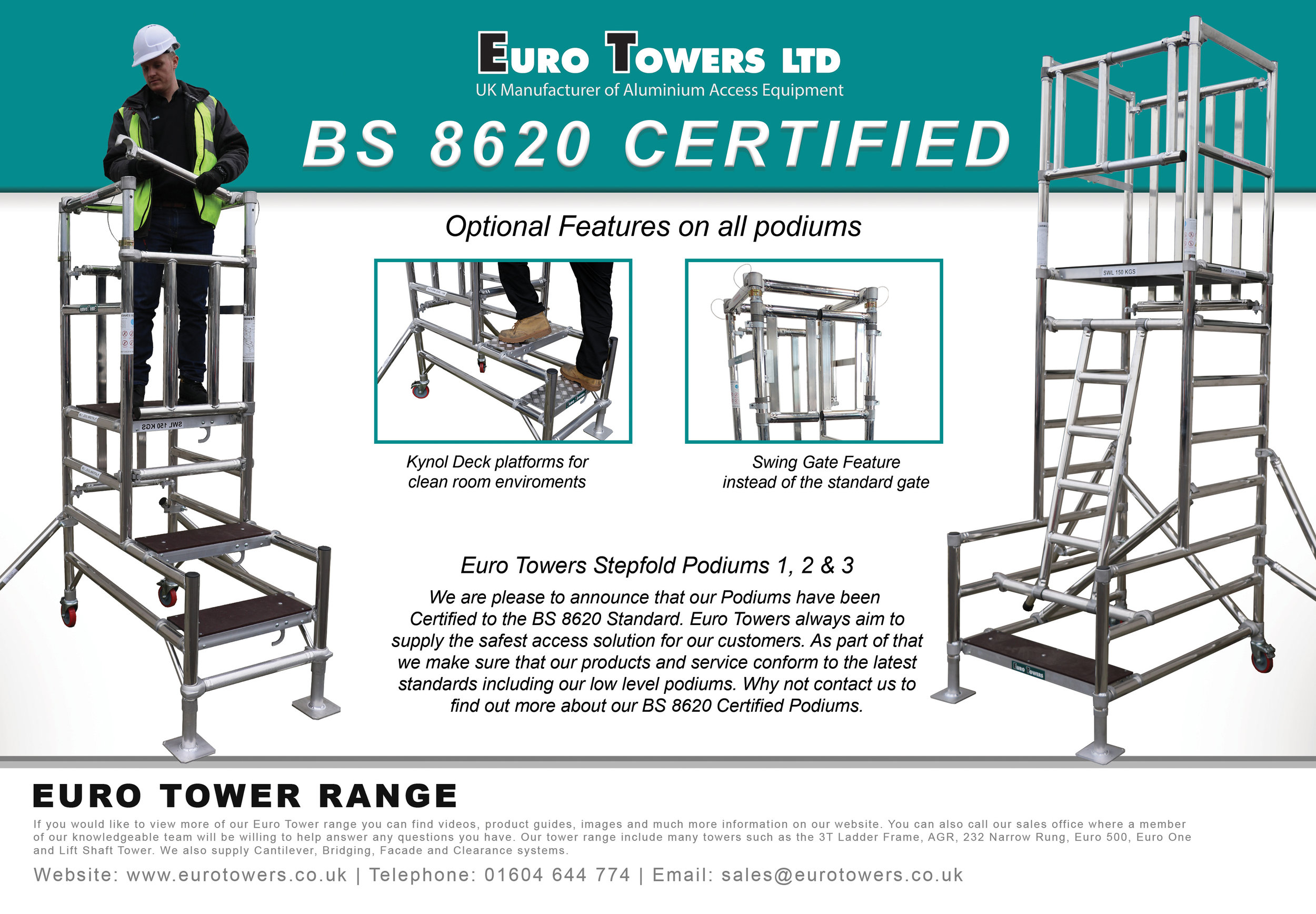 BS8620 certified, podiums, pas250, working at height standard