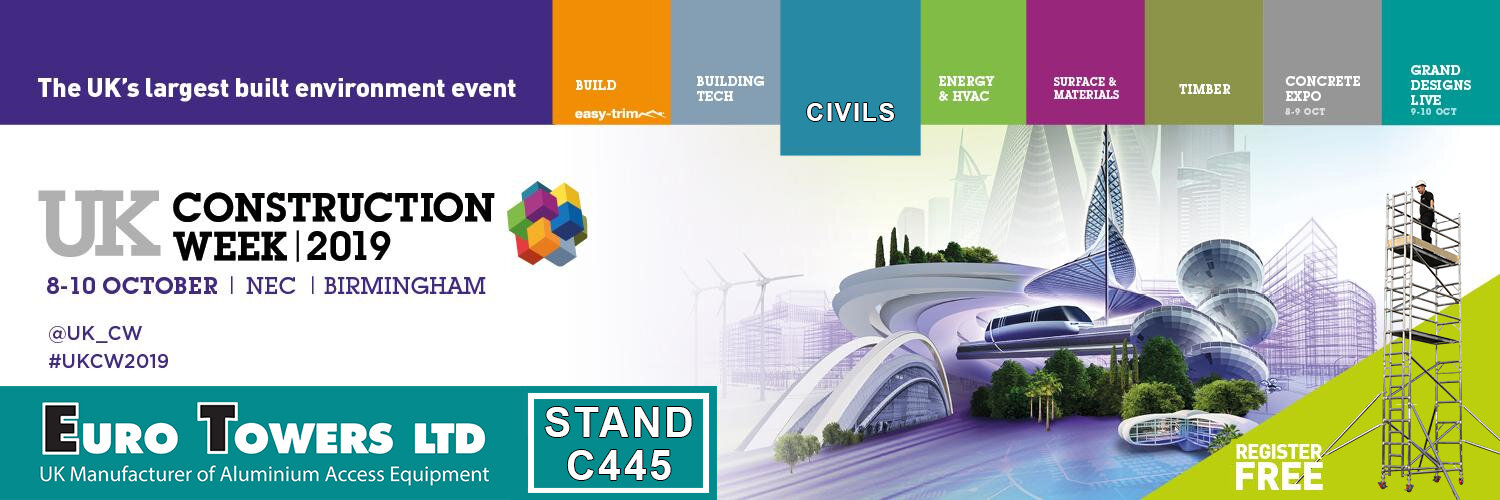 ukcw, UK construction week, stand c445, civils expo, euro towers, exhibition, BS8620, EN1004, Certified podiums, working at height