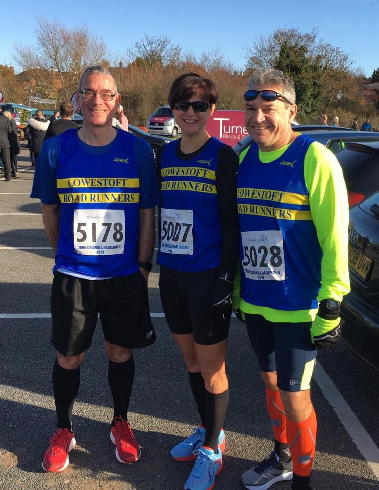 David Graham, Karen Archbold and Simon Bunting at Hadleigh 5 mile race.